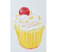 Vanilla cupcake with frosting and sprinkles Photographic Print