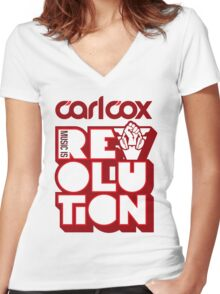 Carl Cox ~ Music is Revolution ~ Women's Fitted V-Neck T-Shirt