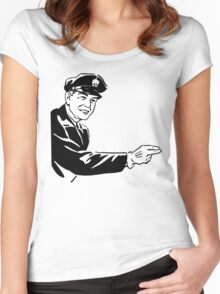 Black And White Traffic Officer Pointing Women's Fitted Scoop T-Shirt