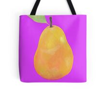 Pear painting on purple background Tote Bag