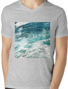 Blue Ocean Waves  Mens V-Neck T-Shirt