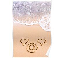 Two hearts and email sign drawn in the sand on a beautiful beach  Poster