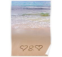 Two hearts drawn in the sand on a beautiful beach Poster