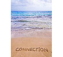 Connection word written on sand, with waves in background Photographic Print