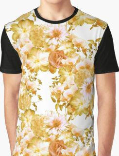 Yellow Pink Romantic Floral Print Graphic T-Shirt