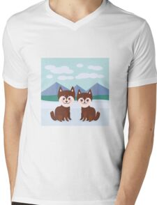 Funny husky dogs Mens V-Neck T-Shirt