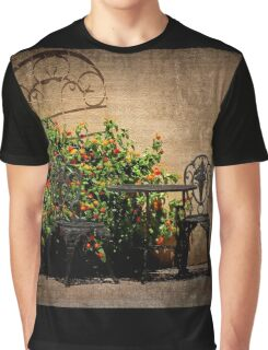 Table and Chairs in Black With Flowers Graphic T-Shirt
