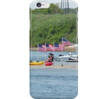 Patriotism - Flags on Sand Dune amid Manasquan River iPhone Case/Skin