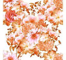 Pink and Orange Romantic Floral Print Photographic Print