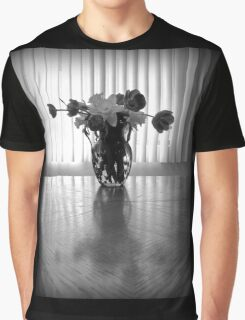 Tulips & Daffodils in Black & White Graphic T-Shirt