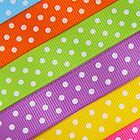 Fabric Pieces, Polka Dots - Green Orange Yellow by sitnica