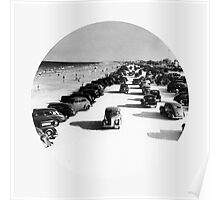 Vintage Cars On Beach Poster