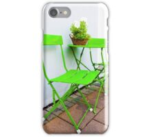 Bright green Cafe Table and Chairs iPhone Case/Skin