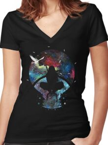Grungy Ninja Silhouette Women's Fitted V-Neck T-Shirt