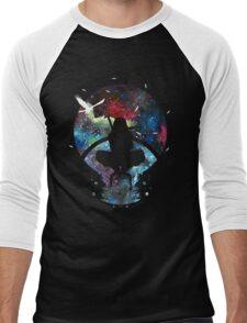 Grungy Ninja Silhouette Men's Baseball ¾ T-Shirt