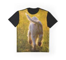 Orange & White Italian Spinone Dog in Action Graphic T-Shirt