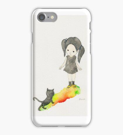 Girl and black cat iPhone Case/Skin