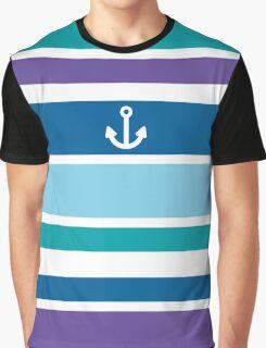 Anchor Coastal Teal Purple Blue Nautical Summer Graphic T-Shirt