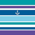 Anchor Coastal Teal Purple Blue Nautical Summer by Beverly Claire Kaiya
