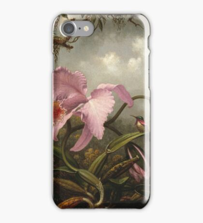 Martin Johnson Heade - Orchid And Hummingbird. Garden landscape: garden view, trees and flowers, blossom,  lotus blossom, botanical park, orchid, wonderful sky, passion flowers, magnolias, hummingbird iPhone Case/Skin