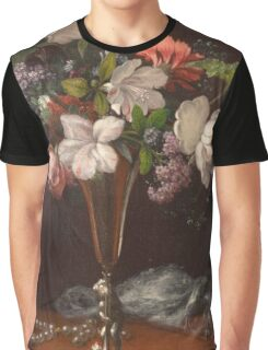 Martin Johnson Heade - Mixed Flowers With A Box And Pearls. Still life with flowers: flowers, hummingbird, nest, orchid,  lotus blossom, wonderful flower, forest, passion flowers, garden, magnolias Graphic T-Shirt