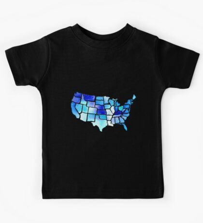 Watercolor United States of America in Blue Kids Tee