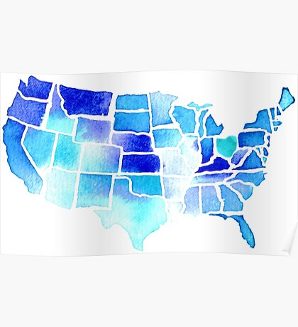 Watercolor United States of America in Blue Poster