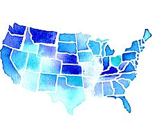 Watercolor United States of America in Blue Photographic Print