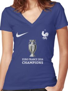 Jersey France Champions Women's Fitted V-Neck T-Shirt