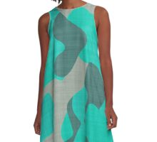 Teal Camo abstract A-Line Dress