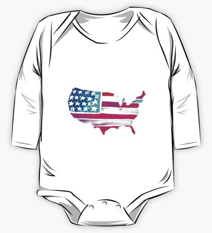 Watercolor United States of America One Piece - Long Sleeve