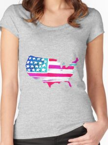Watercolor United States of America Women's Fitted Scoop T-Shirt