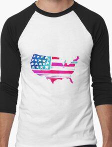 Watercolor United States of America Men's Baseball ¾ T-Shirt