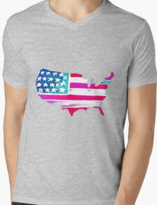 Watercolor United States of America Mens V-Neck T-Shirt