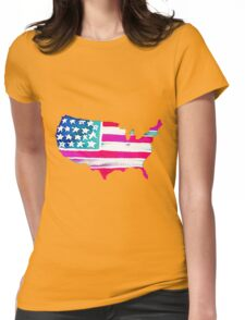 Watercolor United States of America Womens Fitted T-Shirt