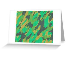 orange and green camo abstract Greeting Card