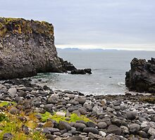 Sand beach with black voulcanic rocks in Iceland near Budir - small town on Snaefellsnes peninsula by Stanciuc