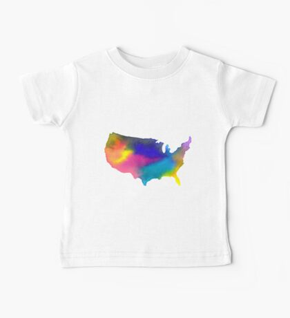 Rainbow Watercolor United States of America Baby Tee
