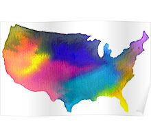 Rainbow Watercolor United States of America Poster