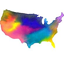 Rainbow Watercolor United States of America Photographic Print