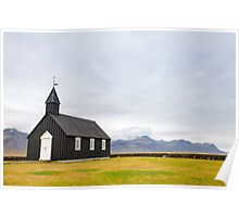 Historic black wooden church in Budir, Iceland Poster