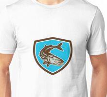 Cobia Fish Diving Down Shield Retro Unisex T-Shirt