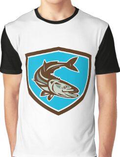 Cobia Fish Diving Down Shield Retro Graphic T-Shirt
