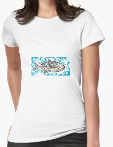 Giant Trevally Side Tribal Art Womens Fitted T-Shirt