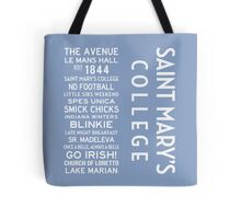 Saint Mary's College White on Blue Tote Bag