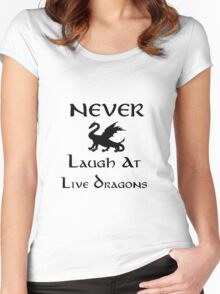 Never Laugh at Live Dragons (Black) Women's Fitted Scoop T-Shirt