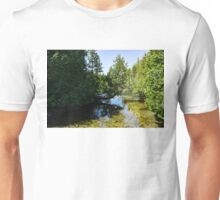 The Crooked Cypress - Elegantly Bowed Tree, Curving Over a Crystal Clear River Unisex T-Shirt