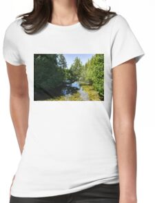 The Crooked Cypress - Elegantly Bowed Tree, Curving Over a Crystal Clear River Womens Fitted T-Shirt