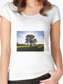 Backlit Tree Women's Fitted Scoop T-Shirt