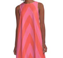 Bold Diagonal Stripes - Orange Pink A-Line Dress